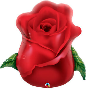 "ROSE BUD BALLOON 33"" BEAUTIFUL ROSE I LOVE YOU QUALATEX SUPER SHAPE FOIL BALLOON"