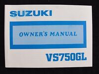 GENUINE 1987 1988 SUZUKI 750 GL VS750GL 750GL MOTORCYCLE OWNER'S MANUAL MINTY