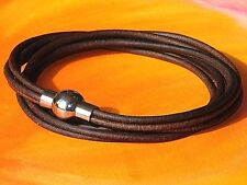 Ladies Antique Brown leather stainless steel double wrap bracelet, Lyme Bay Art