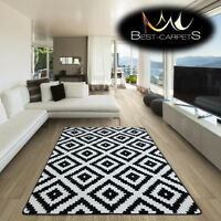 AMAZING THICK MODERN RUGS SKETCH Squares BLACK F998 LARGE SIZE BEST-CARPETS