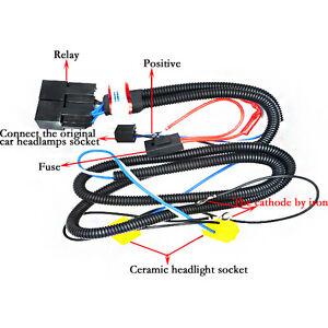 H4 Headlight Relay Wiring Harness 2 Headlamp Light Bulb Socket Plug Xenon Lights