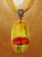 SHELL PENDANT Necklace UNIQUE Russian hand painted White Lip RED POPPY FLOWER