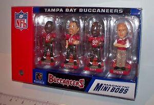 "2003 Tampa Bay Buccaneers 3"" Mini Bobble Head Set Alstott Sapp Gruden K. Johnson"