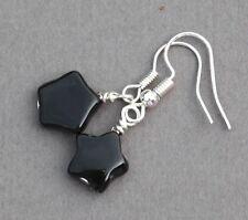BLACK AGATE STAR SILVER PLATED EARRINGS