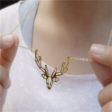 Deer Origami Antler Pendants Chain Necklace Animal Charm Women Jewelry Gold New