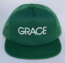 GRACE One Size Fits All Green Trucker 5-Panel Flat Bill Baseball Cap Hat