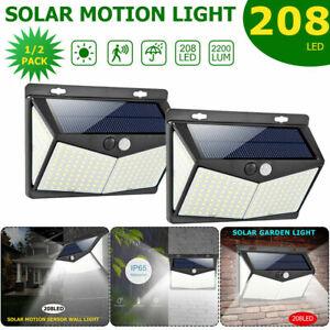 Solar Powered 208 LED Light Garden Path Yard PIR Motion Lamp Outdoor Waterproof