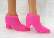 Barbie Doll Boots Shoes Fashion Pink Chunky High Ankle Heel Faux Laced Style