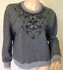 Abercrombie & Fitch Women Meredith Embellished Sweatshirt, Grey, size L