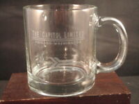 VINTAGE AMTRAK TRAIN GLASS COFFEE CUP MUG CAPITOL LIMITED CHICAGO-WASHINGTON USA