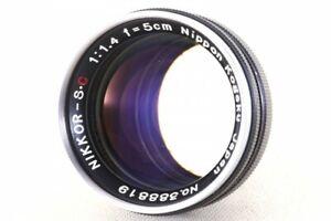 Nippon Kogaku Nikkor-SC S.C. 5cm 50mm F1.4 s Mount Lens Nikon 388819 Exc