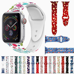 38-42mm Christmas Silicone Sport Band Wrist Strap For Apple Watch Series 6 5 4 3
