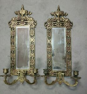 """PAIR Rococo Bronze Victorian Mirror Wall Sconces Candleholders 21"""""""