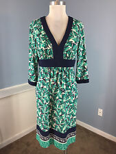 BCBG MAX AND CLEO Navy Blue Green Dress Career Cocktail EUC Empire 3/4 sleeve