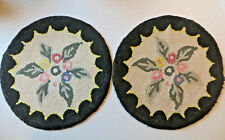 Vintage Hook Rug Chair Pad Pair Shabby Chic Florals