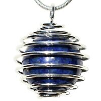 "CHARGED Lapis Lazuli 16mm Sphere Pendant + 20"" Silver Chain & Selenite Heart"