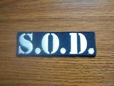 S.O.D,IRON ON WHITE EMBROIDERED PATCH