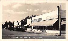 C85/ Pequot Lake Minnesota RPPC Postcard c1940s Food Store Automobiles
