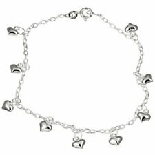 Anklet 9 inches Real Not Plated Sterling Silver Dangling Love & Heart
