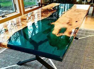 Handmade Custom Acacia and Deep Green Epoxy Resin Dining Table Top Furniture Art