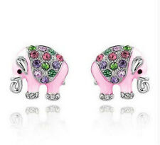 1 Pair Woman Fashion 925 Silver Pink Elephant crystal Charm Stud Earring NEW