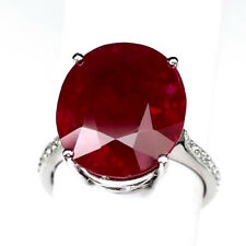 RUBY PIGEON BLOOD RED OVAL RING 12.60CT.SAPPHIRE 925 STERLING SILVER SZ 6 GIFT