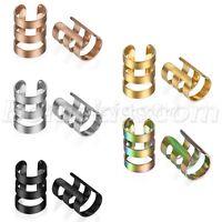 2pcs Stainless Steel Men's Women's Ear Cuff Clip On Non-Piercing Studs Earrings