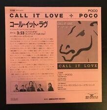 "POCO - CALL IT LOVE JAPAN PROMO 7"" WLP NM 45 PICTURE SLEEVE INSERT PRTD-3070"