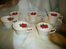 6 Canonsburg Adam Antique Cups and Saucers Poinsettia Christmas