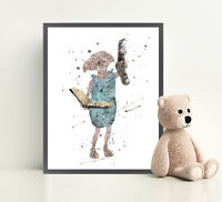 HARRY POTTER DOBBY Print Poster Watercolour Framed Canvas Wall Art Nursery