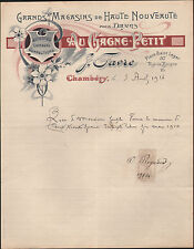 "CHAMBERY (73) VETEMENTS pour DAMES *AU GAGNE PETIT* ""J. FAVRE"" en 1914"