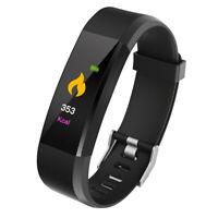 115Plus Smart Watch Armband Fitness Tracker Herzfrequenzmesser Schwarz