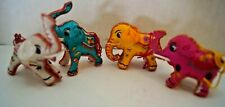 4 Vintage Ornate Stuffed Satin Embroidery Christmas Ornament Elephants