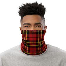 Red Scottish Plaid Tartan Pattern Print Neck Gaiter Face Mask for Men and Women