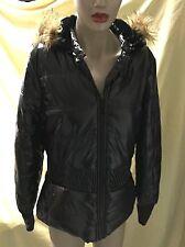 NICKI MINAJ Black Shiny Puffer Jacket/Coat w/Detachable Fur Trim Hood Size M NWT