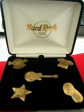 HRC Hard Rock Cafe Stockholm 5 Pin Set Brass Black Velvet Box LE500