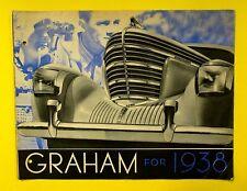 Vintage Original 1938 GRAHAM FOLD OUT SALES BROCHURE Supercharger Coupe Sedan