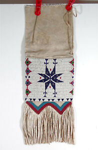 ca1900 NATIVE AMERICAN SIOUX INDIAN BEAD DECORATED HIDE TOBACCO / PIPE BAG