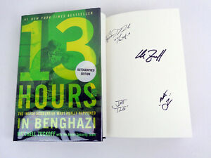 13 Hours In Benghazi Signed Autograph Book Movie Mitchell Zuckoff + 3 Sigs COA