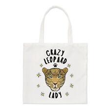 Crazy Leopard Lady Small Tote Bag - Funny Animal Shopper Shoulder