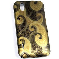 For LG Marquee Rubberized HARD Protector Case Snap on Phone Cover Brown Swirl