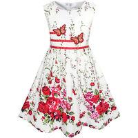Girls Skater Dress Butterfly Flower Sundress Kids Party Dresses Age 4-12 Years