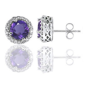 Round Cut Amethyst and Diamond 14K Solid White Gold Halo Earrings