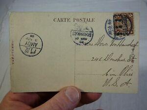 rough 1908 Tokyo Japan Postcard with Amoy & Shanghai Postmarks China Chinese Vtg