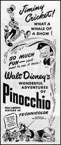1945 Walt Disney Pinocchio Jiminy Cricket movie release retro art print ad  L41