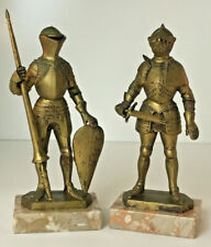 "Vintage Pair Medieval Knights Depose Italy 8.5"" Tall Figurines Marble Base"