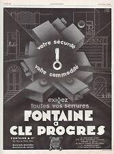 Publicité Clé PROGRES serrures FONTAINE  photo vintage  ad  1929 - 6h