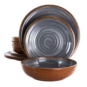 Elama El-Stoneoak Stone Oak 12 Piece Lightweight Melamine Dinnerware Set In