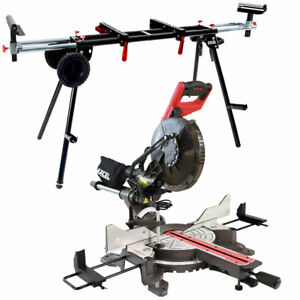 """Mitre Saw 10"""" Compound Sliding 2000W Double Bevel Cut Laser Blade + Wheel Stand"""