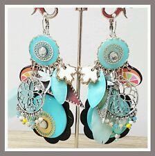 Boucles d'oreilles LOLILOTA LOL BIJOUX bleu turquoise perles strass plume